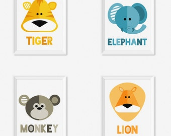 Jungle Animals Nursery Prints, Printable Kids Art, Kids Prints, Instant Download Nursery Art, Animal Prints For Nursery, Kids Wall Art Print