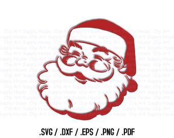 Santa Claus Clipart, Winter Christmas Wall Art, Santa SVG File, Silhouette Studio, Cricut Design, Brother Scan Cut, Die Cut Machines - CA270
