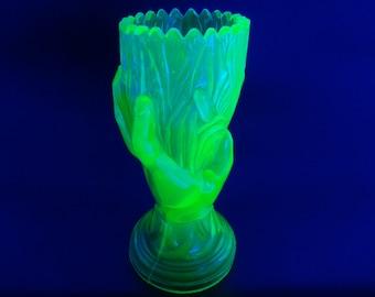 1874 Victorian Antique John Derbyshire Hand Yellow Vaseline Glass Vase - Uranium Glass Vase - UV glass - Glow in the Dark - British glass