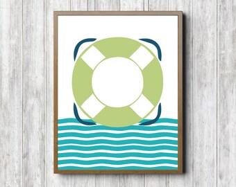 Boys Room / Nursery Nautical Wall Art - Life Preserver/ Ring / Buoy Art Poster - Sea Themed Wall Decor - Blue & Lime Green - Digital Artwork