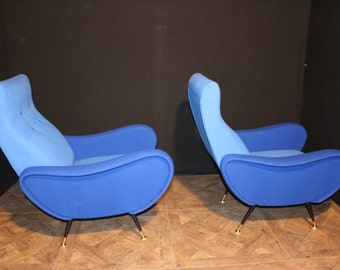 Mid-Century Italian Blue Lounge Chairs In The Style Of Zanuso