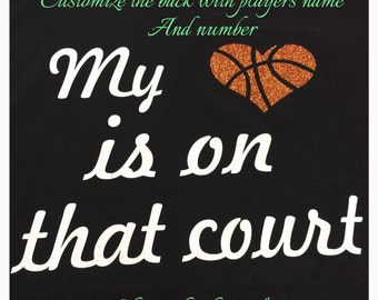 basketball mom shirt basketball shirt my heart is on that court glitter shirt