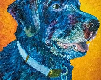 Dog portrait painting by Audrey D, Original oil on canvas for pet lovers, Contemporary animal art custom pet gift, Black blue labrador dog