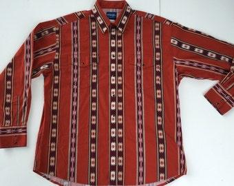 Vintage men's Wrangler pearl snap long sleeve shirt, wrangler pearl snap shirt, vintage wrangler shirt, vintage pearl snap shirt size XL