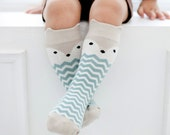 LITTLE FOX Socks Leg Warmer Knee High. Baby Babies Kids Toddler Infant Child Children. With Anti Slip / Non-slip Soles