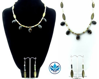 Antique Soocho Jade Necklace and Earrings Set, Mother of Pearl Brown Marquise Necklace, Unique Necklace, Semi-precious Jewellery