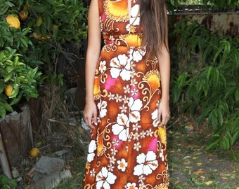 Vintage 1960's Vibrant Aloha Dress By Wika of Hawaii, LTD size Small in brown with flowers