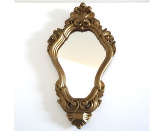 Vintage Oval Golden Mirror Baroque Romantic Style - Retro 50s Mirror