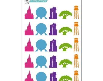 Walt Disney World Park Icons Stickers - Disney Planner Stickers