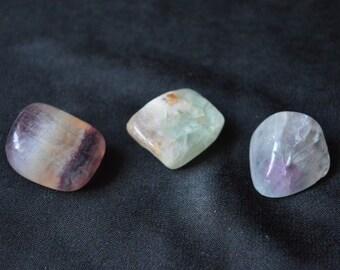 3 Fluorite Crystal Tumblestones for healing, Reiki and meditation