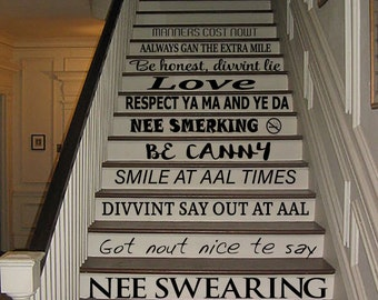 Geordie House Rules Stair Stickers
