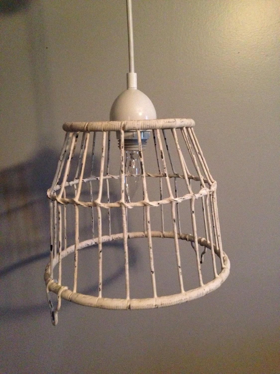 white basket pendant light