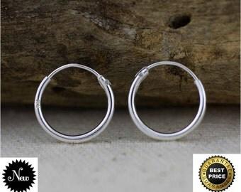 Cartilage Hoop Earrings, Sterling Silver Tiny Hoop Earrings, 12mm Sterling Silver Hoop Earrings,Small pair hoops, Silver Cartilage Hoop PAIR