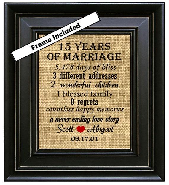 Gift For 15 Wedding Anniversary: FRAMED 15th Wedding Anniversary/15th Anniversary By