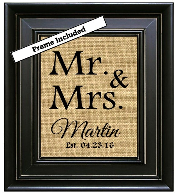 FRAMED MR And MRS Wedding Gift Personalized Gift For Couple