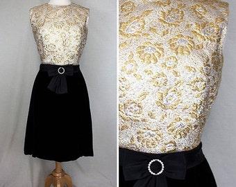 VALENTINE SALE All That Glitters Velvet & Metallic Party Dress | 1960s | Women's M/L