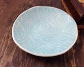 Jewelry Dish Soap Dish Dessert Plate decorative Hand-built Fine Porcelain Light Turquise