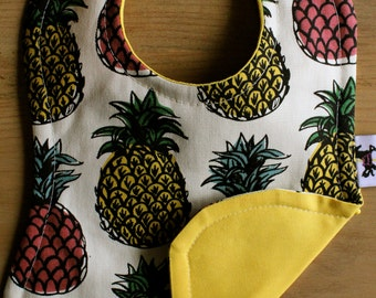 Pineapples, bright Yellow baby bib