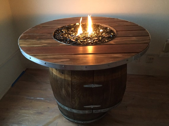 items similar to wine barrel pit plank table on etsy