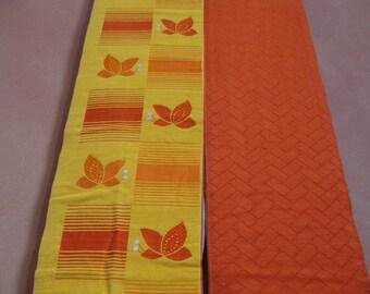 Vintage Japanese Orange Obi (Kimono Belt) Featuring Butterfly Pattern