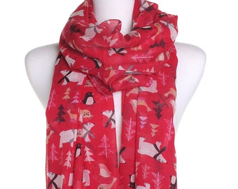 North Pole Scarf / Red Spring Summer Scarf / Autumn Fall Scarf / Christmas Scarf / Ladies Womens Scarves / Cover Up / Gifts For Her