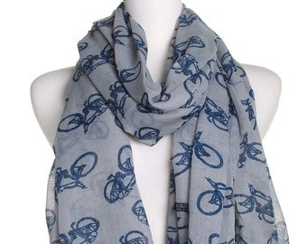Grey Bicycle Print Scarf / Ladies Womens Scarves / Retro Bike Design / Cover Up / Wrap / Cute Neck Scarf / Gifts For Her / Cycle Pattern