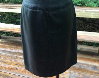 Vintage Womans' Lambskin black leather skirt/size 6.