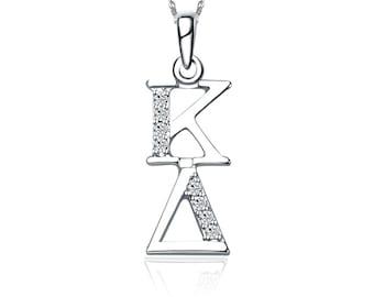 Kappa Delta Vertical Silver Lavalier (KD-P001)