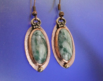 Mixed Metal Moss Agate Earrings Handcrafted Copper Bronze