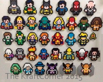 DC Character Inspired Perler Magnets, Keychains, Coasters, Charms, Party Favors, Sprites  | DC Batman, Superman, Wonder Woman, The Flash