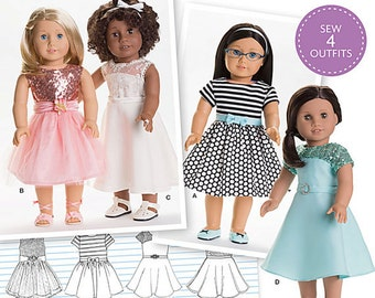 """American Girl Doll dresses for 18"""" Dolls, Simplicity Pattern 8039, S0172, 4 styles, special occasion dresses, gathered, A-line skirt, UN-CUT"""