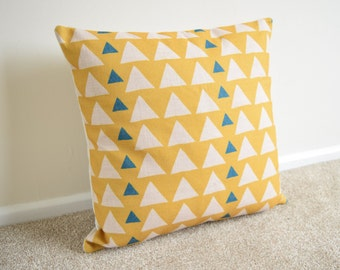 """Yellow Triangles Geometric/Scandinavian Cotton Linen Cushion/Pillow Cover 18 x 18"""""""