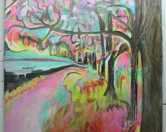 Flourescent Abstract Tree Painting