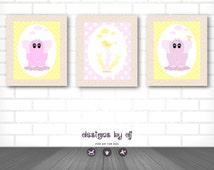 Pink Elephant Baby Girl Nursery Wall Art Prints, INSTANT DIGITAL DOWNLOAD