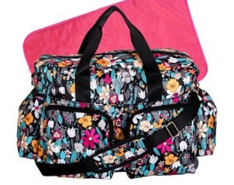 Monogram Turquoise Floral Deluxe Duffle Diaper Bag