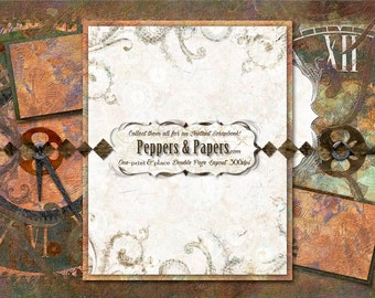Premade 24x12 Steampunk Printable layout, collect them all - Instant double page Scrapbook pages  - Double Time