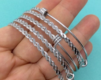 Bulk 50pcs BRAIDED TWISTED Stainless Steel Adjustable Wire Bangle 3 Loops Wrap Silver Tone Only 1.2 Dollar each bangle