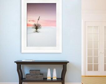 "Fine Art Landscape Photography ""White Sands Yucca"" |  Pink, White Sands, Decor, Nature Photograph, Dreamy Sky, image, Desert, New Mexico"