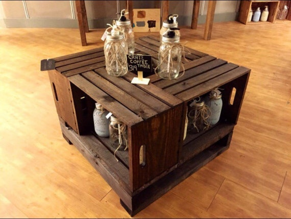 clearance rustic crate style coffee table by ruralkountry