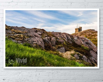 Signal hill, cabot tower, St John's, nfld wall art, framed picture canadian landscape, rugged scenery matted photo, newfoundland decor
