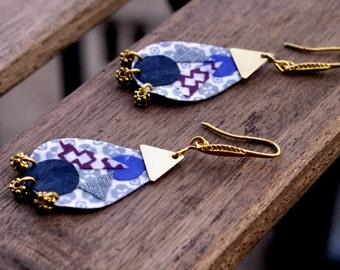 Earrings Fabric Textile Mosaic Brass Fabric Drop Triangle