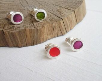 Sterling Silver & Resin Dot Stud Earrings - Earrings 233 to 236 for EAD2015