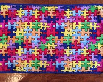 Autism Awareness Puzzle Fleece blanket with crocheted border