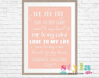 Pink Girl Baby Quote Print- Digital Download