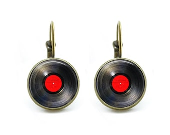 Vinyl record Earrings Steampunk jewelry Vintage music gift