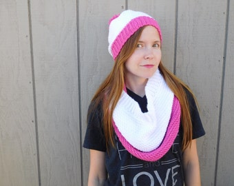 Crochet cowl scarf - white and hot pink cowl - stripe scarf - winter scarf - thick scarf - christmas gift for her - stocking stuffer - teens