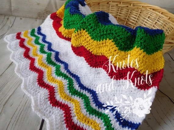 Crochet Baby Blanket Primary Colors Baby By Knotesandknots