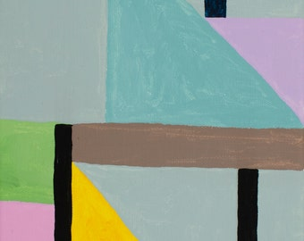 """Abstract  acrylic painting, Small Geometric painting """"Blue Triangle"""" 10H x 8W from Art Factory Gallery"""
