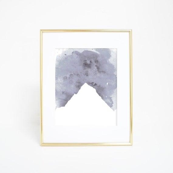 Mountain Art Print, Mountain Art, Gray Mountain, Watercolor Print, Printable Art, Digital Prints, Nursery Print, Nursery Art, Office Decor