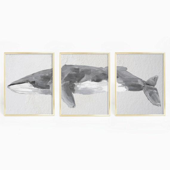 Fin Whale Print, Whale Print, Whale Art Print, Nautical Art Print, Beach Print, Nautical Decor, Bathroom Decor, Bathroom Print, Wall Art